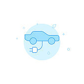 Electric car charging flat vector icon. Filled line style. Blue monochrome design. Editable stroke