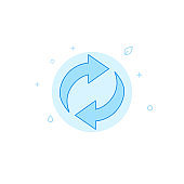 Recycling flat vector icon. Filled line style. Blue monochrome design. Editable stroke