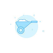 Wheelbarrow flat vector icon. Filled line style. Blue monochrome design. Editable stroke