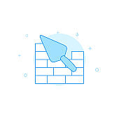 Trowel and brickwork flat vector icon. Filled line style. Blue monochrome design. Editable stroke
