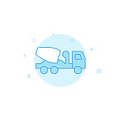 Concrete mixer truck flat vector icon. Filled line style. Blue monochrome design. Editable stroke