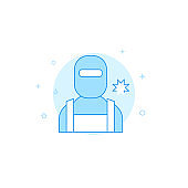 Welder, welding mask flat vector icon. Filled line style. Blue monochrome design. Editable stroke