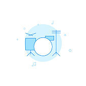 Drums, drum kit, drummer flat vector icon. Filled line style. Blue monochrome design. Editable stroke