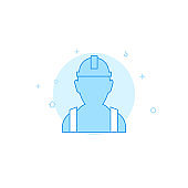 Worker, builder in hard hat flat vector icon. Filled line style. Blue monochrome design. Editable stroke
