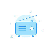 Radio, broadcasting flat vector icon. Filled line style. Blue monochrome design. Editable stroke
