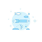 Torpedo under water flat vector icon. Filled line style. Blue monochrome design. Editable stroke