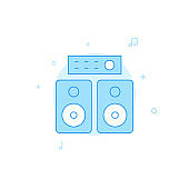 Amplifier speakers flat vector icon. Filled line style. Blue monochrome design. Editable stroke