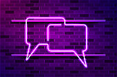 Conversation, chat glowing purple neon sign or LED strip light. Realistic vector illustration