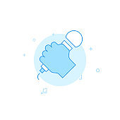 Hand with microphone flat vector icon. Filled line style. Blue monochrome design. Editable stroke