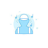 Listening to music flat vector icon. Filled line style. Blue monochrome design. Editable stroke
