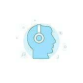 Head in headphones flat vector icon. Filled line style. Blue monochrome design. Editable stroke