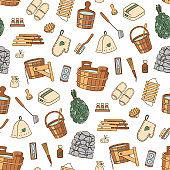 Sauna and Bathhouse accessories. Hand drawn seamless pattern.