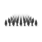 Crowd to the horizon dissolving away. People simple icons. Vector illustration