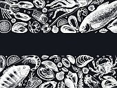 Seafood vector banner on a chalkboard