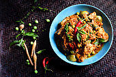 spicy chicken curry Spices Thai Food Popular Menu on Wood Table in Still Life Style Photography