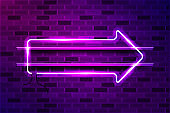 Arrow right glowing purple neon sign or LED strip light. Realistic vector illustration
