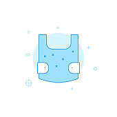 Body armor flat vector icon. Filled line style. Blue monochrome design. Editable stroke
