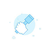 Hand grenade in hand flat vector icon. Filled line style. Blue monochrome design. Editable stroke