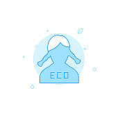 Eco activist, girl with pigtails flat vector icon. Filled line style. Blue monochrome design. Editable stroke