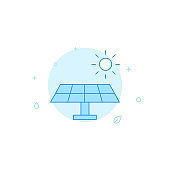 Solar panel flat vector icon. Filled line style. Blue monochrome design. Editable stroke