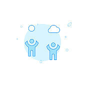People enjoy good weather flat vector icon. Filled line style. Blue monochrome design. Editable stroke
