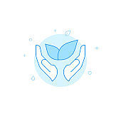 Save the nature hands flat vector icon. Filled line style. Blue monochrome design. Editable stroke