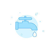 Save water flat vector icon. Filled line style. Blue monochrome design. Editable stroke