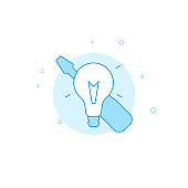 Electrician, light bulb, screwdriver flat vector icon. Filled line style. Blue monochrome design. Editable stroke