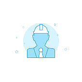 Civil engineer, developer in hard hat flat vector icon. Filled line style. Blue monochrome design. Editable stroke