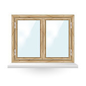 Double wooden window with white window hinges and windowsill isolated on white. Realistic vector illustration