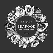 Vector frame with hand drawn seafood on chalkboard