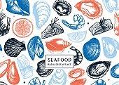 Hand-drawn Seafood vector design.