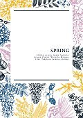 Spring trees in flowers card design A5