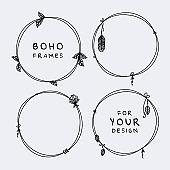 Beautiful set of boho, tribal round frames vector