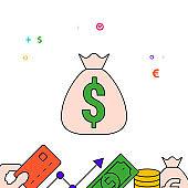 Money bag, cash prize filled line icon, simple illustration