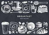 Breakfast dishes vector collection on chalk board.