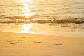 Footmark in a Sand on the Beach at Phuket Thailand