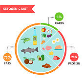 Nutrition infographics: food pyramid diagram for the ketogenic diet. Healthy eating concept.