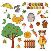Set of cute autumn stickers. Kawaii little girl,  umbrella,  hedgehog,  fly agaric, umbrella, hare, pumpkin, cloud, leaves.