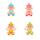 Newborn baby's. Set with cute little baby boy and cute girl.