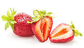 Ripe strawberries with leaves.