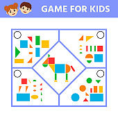 Education logic game for preschool kids. Connect the details and animals of geometric shapes.