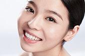 Young woman makeup face portrait