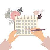 Menstruation calendar illustration. Woman makes notes on the calendar of menstrual cycle.