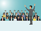 Businessmen speaking on seminar, meeting or conference vector illustration. Back view of business speaker. Man standing in front of the crowd.