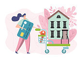 Buy new home vector illustration, flat tiny cartoon woman owner character pushing shopping cart with house, buyers people buying apartment