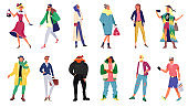 People in stylish outfit collection, set of women and men wearing trendy clothes, isolated vector illustrations. Young fashionable people.