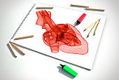 Detailed Heart Drawing on Sketch Book
