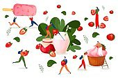 Strawberry dessert, fruit cuisine, vector illustration.People cartoon character with sweet food, berry fresh culinary. Man woman