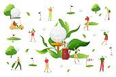 People play golf at white background, vector illustration. Man woman character, sport outdoor activity. Professional player